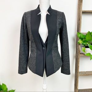 Elevenses | Gray Black Wool Fitted Blazer Size 8